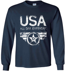 USA All Day Everyday. White Print. Gildan Ultra Cotton Long Sleeve Shirt.