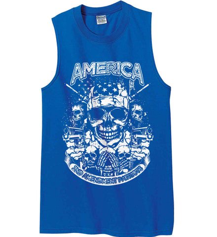 America. 2nd Amendment Patriots. White Print. Gildan Men's Ultra Cotton Sleeveless T-Shirt.