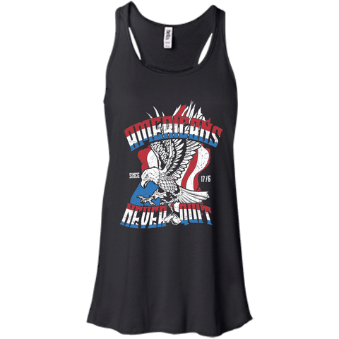 America Never Quits. Women's: Bella + Canvas Flowy Racerback Tank.
