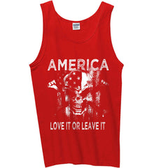 America. Love It or Leave It. White Print. Gildan 100% Cotton Tank Top.