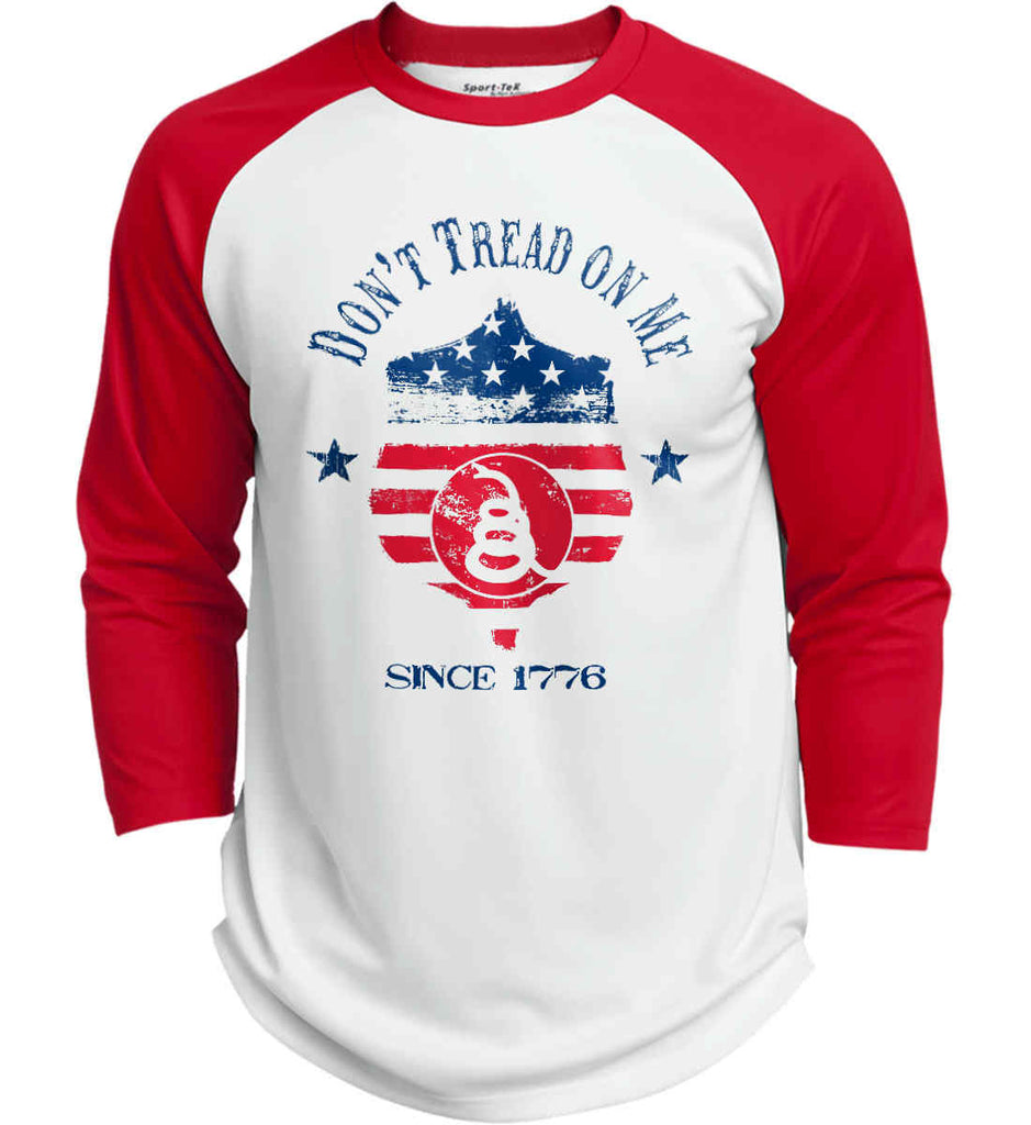 Don't Tread on Me. Snake on Shield. Red, White and Blue. Sport-Tek Polyester Game Baseball Jersey.-1