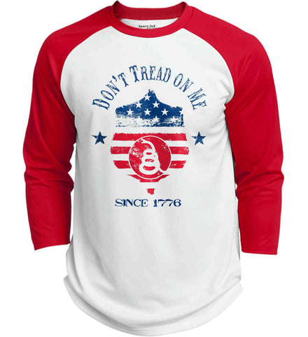 Don't Tread on Me. Snake on Shield. Red, White and Blue. Sport-Tek Polyester Game Baseball Jersey.