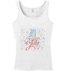 4th of July. Stars and Rockets. Women's: Anvil Ladies' 100% Ringspun Cotton Tank Top.