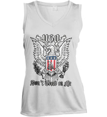 Don't Tread on Me. Eagle with Shield and Rattlesnake. Women's: Sport-Tek Ladies' Sleeveless Moisture Absorbing V-Neck.