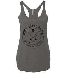 Don't Tread on Me: The Second Amendment: An American Tradition. Black Print. Women's: Next Level Ladies Ideal Racerback Tank.