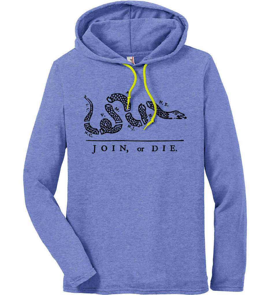Join or Die. Black Print. Anvil Long Sleeve T-Shirt Hoodie.-2