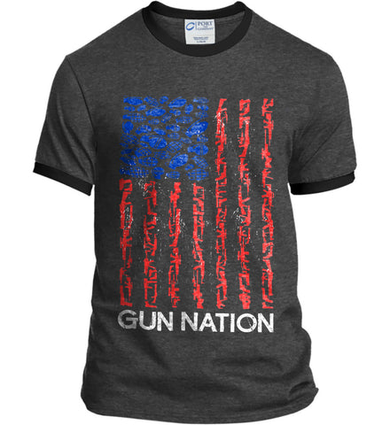 Gun Nation. Port and Company Ringer Tee.