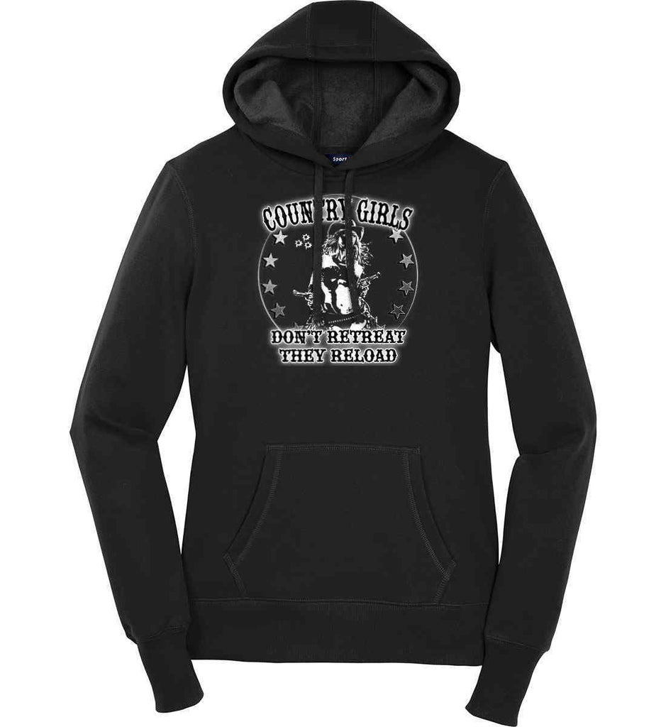 Country Girls Don't Retreat.They Reload. Women's: Sport-Tek Ladies Pullover Hooded Sweatshirt.-1