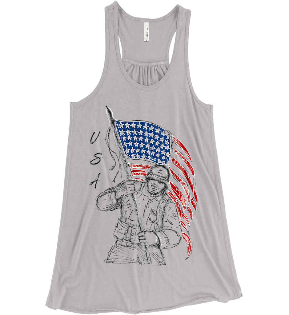 Soldier Flag Design. Black Print. Women's: Bella + Canvas Flowy Racerback Tank.-3