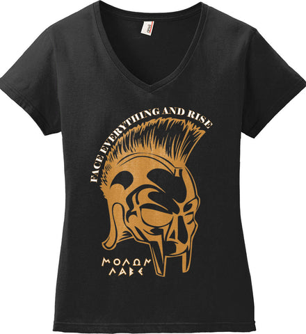 Face Everything and Rise. Molon Labe. Women's: Anvil Ladies' V-Neck T-Shirt.