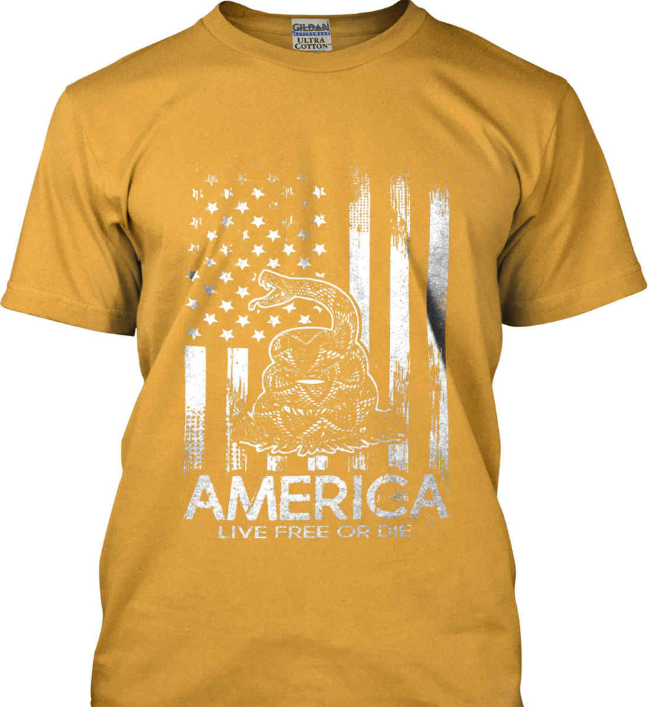 America. Live Free or Die. Don't Tread on Me. White Print. Gildan Ultra Cotton T-Shirt.-2