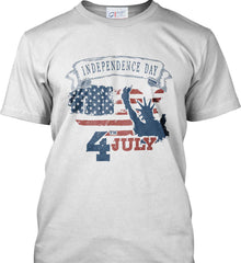 4th of July. Faded Grunge. Statue of Liberty. Port & Co. Made in the USA T-Shirt.