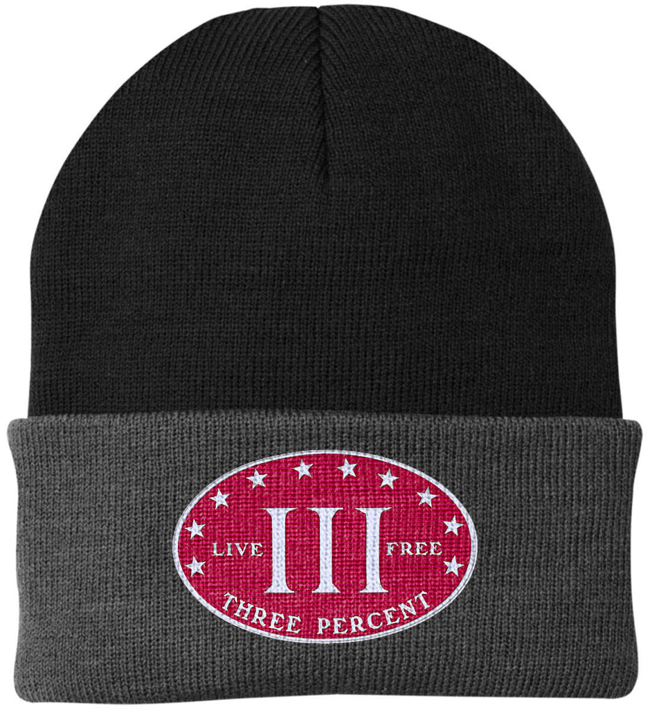 Three Percenter. Live Free. Hat. Port Authority Knit Cap. (Embroidered)-10