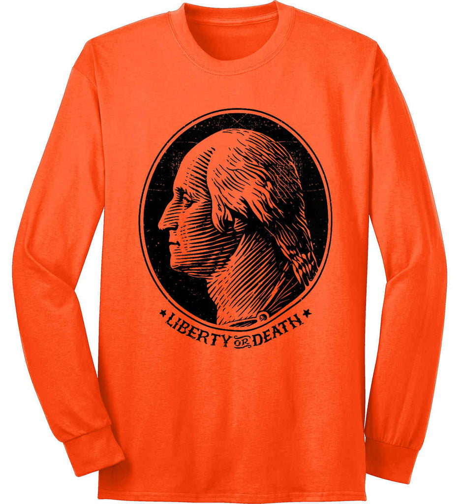 George Washington Liberty or Death. Black Print Port & Co. Long Sleeve Shirt. Made in the USA..-5