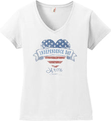 Independence Day. July, 4 1776. Women's: Anvil Ladies' V-Neck T-Shirt.