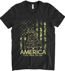 America. Live Free or Die. Don't Tread on Me. Camo. Anvil Men's Printed V-Neck T-Shirt.