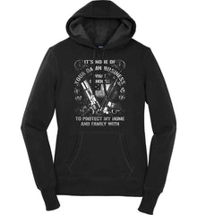 It's None Of Your Business What I Choose To Protect My Home With. White Print. Women's: Sport-Tek Ladies Pullover Hooded Sweatshirt.