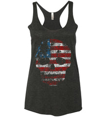 American Skull. Red, White and Blue. Women's: Next Level Ladies Ideal Racerback Tank.