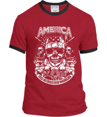 America. 2nd Amendment Patriots. White Print. Port and Company Ringer Tee.