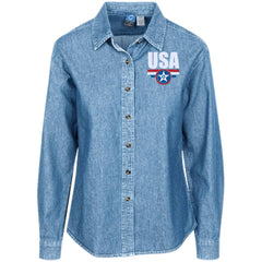 USA. Star-Shield. Red, White, Blue. Women's: Port Authority Women's LS Denim Shirt. (Embroidered)