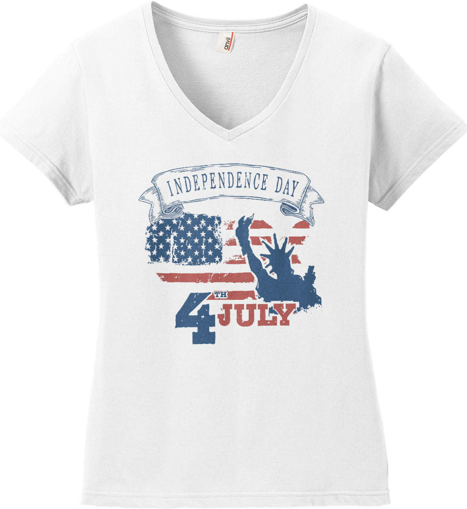 4th of July. Faded Grunge. Statue of Liberty. Women's: Anvil Ladies' V-Neck T-Shirt.-2
