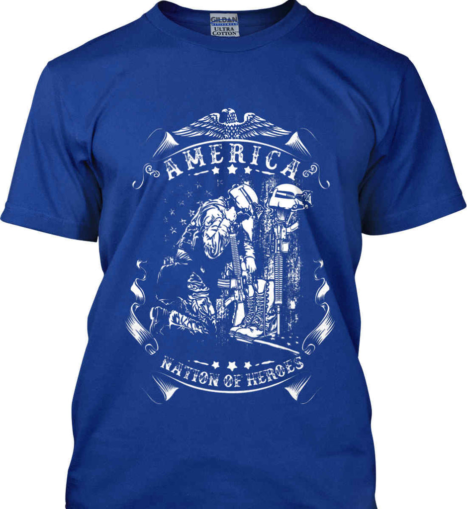 America A Nation of Heroes. Kneeling Soldier. White Print. Gildan Ultra Cotton T-Shirt.-7