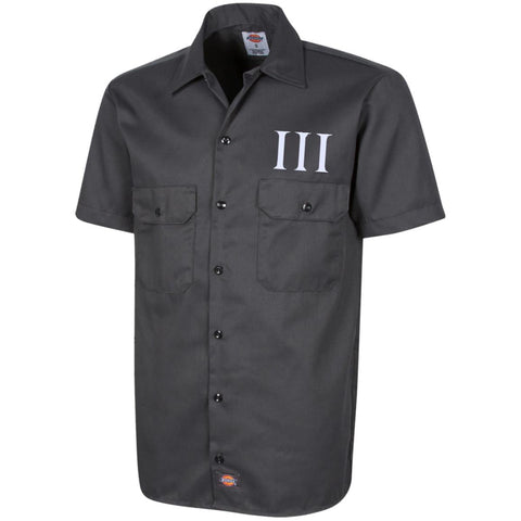 Three Percent Symbol. White. Dickies Men's Short Sleeve Workshirt. (Embroidered)