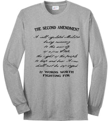 The Second Amendment. 27 Words Worth Fighting For. Second Amendment. Black Print. Port & Co. Long Sleeve Shirt. Made in the USA..