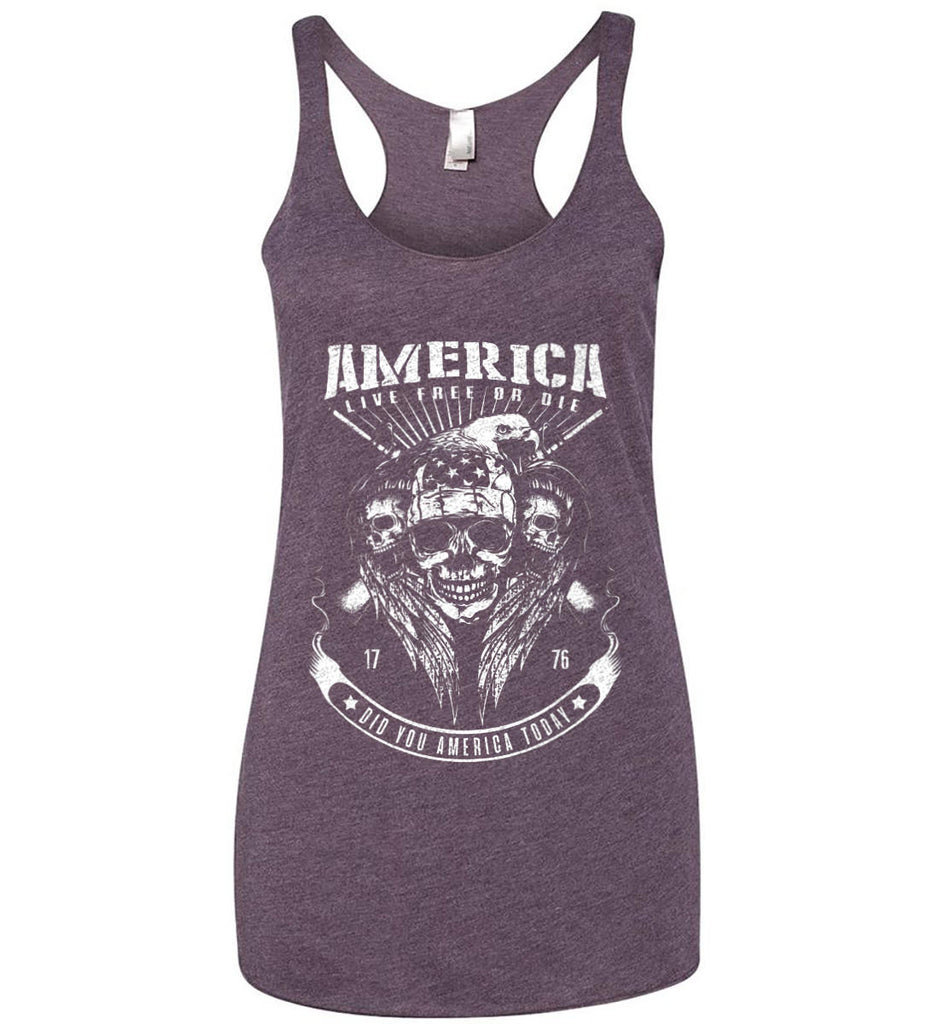 Did you America Today. 1776. Live Free or Die. Skull. White Print. Women's: Next Level Ladies Ideal Racerback Tank.-11