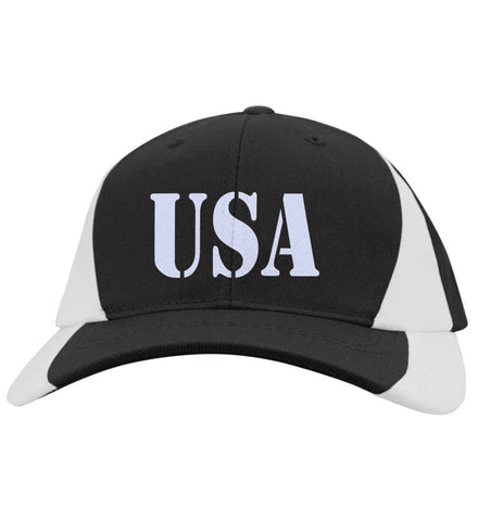 USA Patriot Hat Sport-Tek Mid-Profile Colorblock Cap. (Embroidered)