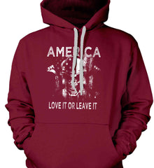 America. Love It or Leave It. White Print. Gildan Heavyweight Pullover Fleece Sweatshirt.