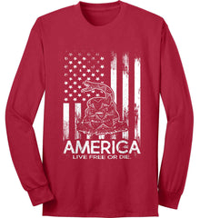 America. Live Free or Die. Don't Tread on Me. White Print. Port & Co. Long Sleeve Shirt. Made in the USA..
