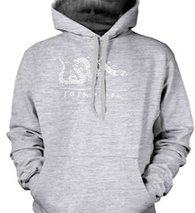 Join or Die. White Print. Gildan Heavyweight Pullover Fleece Sweatshirt.