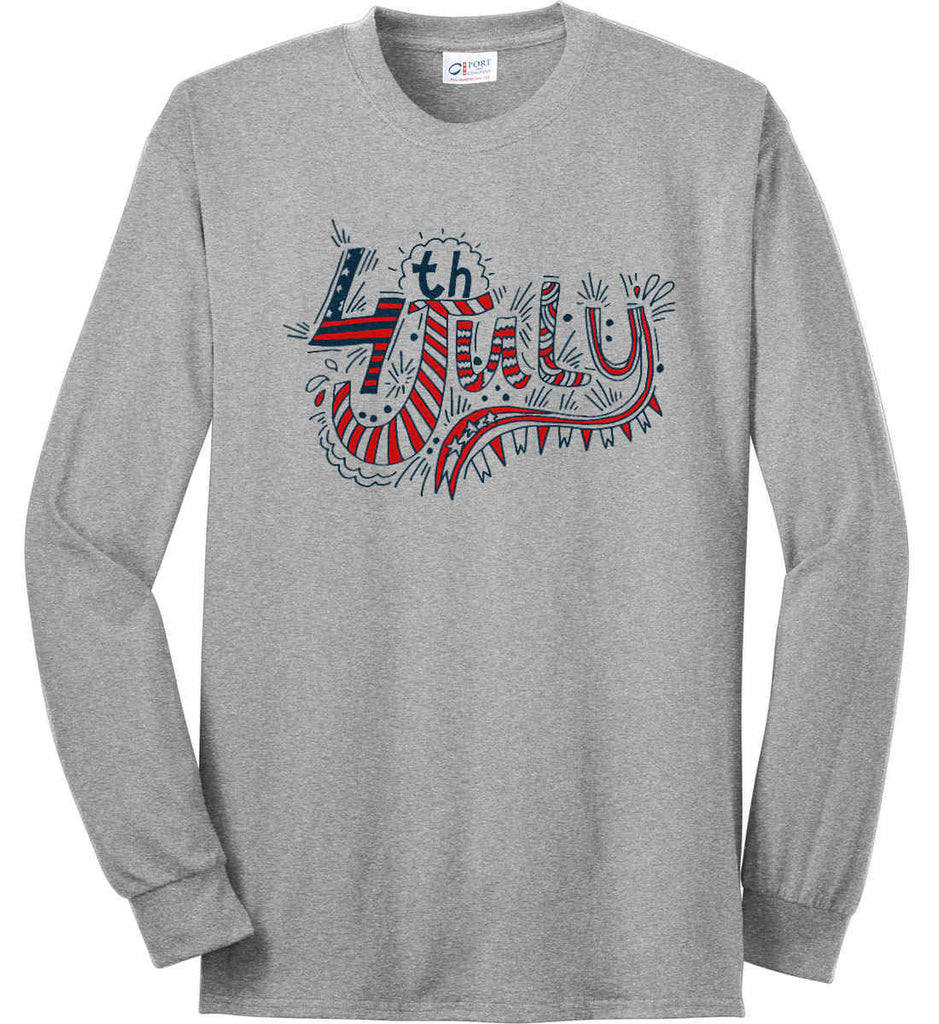 July 4th Red, White and Blue. Port & Co. Long Sleeve Shirt. Made in the USA..-2