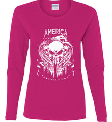 America. Punisher Skull and Bones. Since 1776. White Print. Women's: Gildan Ladies Cotton Long Sleeve Shirt.