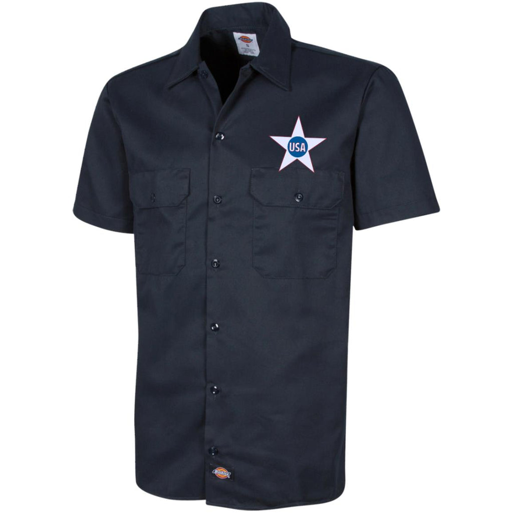 USA. Inside Star. Red, White and Blue. Dickies Men's Short Sleeve Workshirt. (Embroidered)-3
