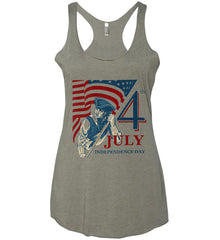 Patriot Flag. July 4th. Independence Day. Women's: Next Level Ladies Ideal Racerback Tank.
