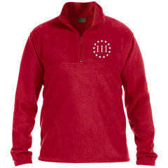Three Percent III. Surrounded by Stars. Harriton 1/4 Zip Fleece Pullover. (Embroidered)