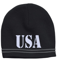 USA Patriot Hat Sport-Tek Colorblock Beanie. (Embroidered)