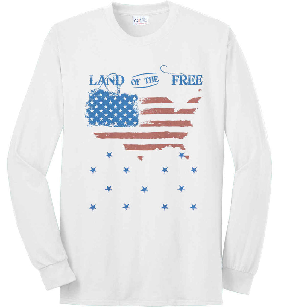 Land of the Free. Port & Co. Long Sleeve Shirt. Made in the USA..-2