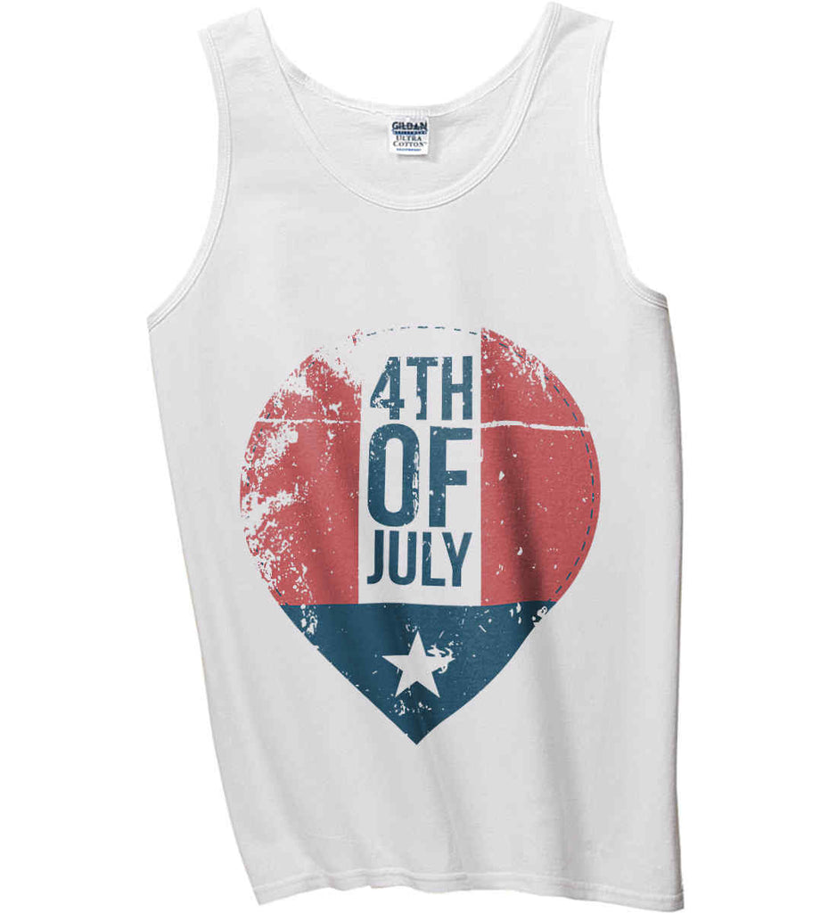 4th of July with Star. Gildan 100% Cotton Tank Top.-1