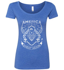 America. Great Again. White Print. Women's: Next Level Ladies' Triblend Scoop.