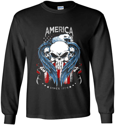 America. Punisher Skull and Bones. Since 1776. Gildan Ultra Cotton Long Sleeve Shirt.