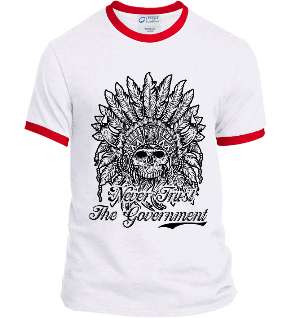 Skeleton Indian. Never Trust the Government. Port and Company Ringer Tee.-5