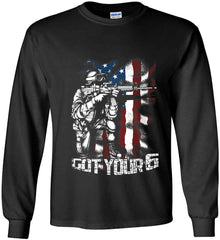 Got Your Six. Soldier Flag. Gildan Ultra Cotton Long Sleeve Shirt.