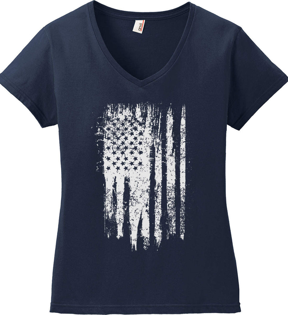 Grungy Grey USA Flag Women's: Anvil Ladies' V-Neck T-Shirt.-2