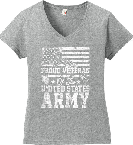 Proud Veteran. US ARMY. Women's: Anvil Ladies' V-Neck T-Shirt.