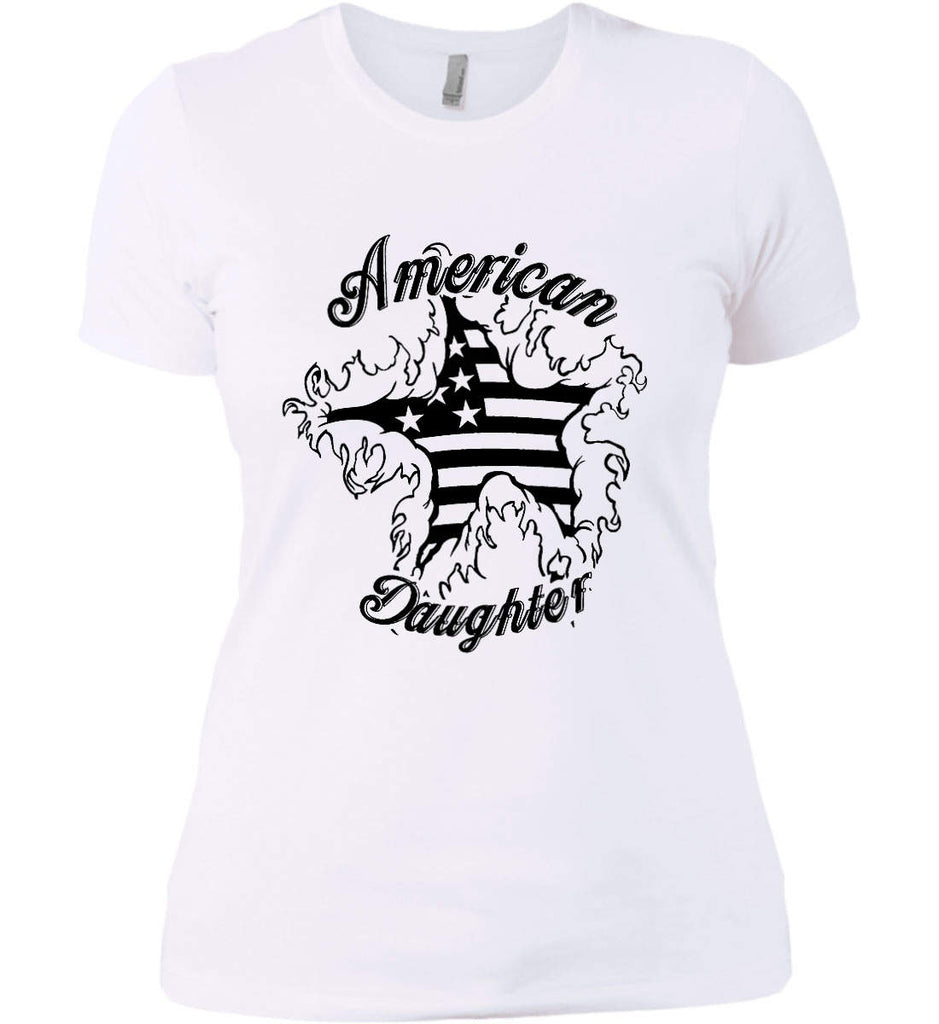 American Daughter. Women's Patriot Design. Women's: Next Level Ladies' Boyfriend (Girly) T-Shirt.-2