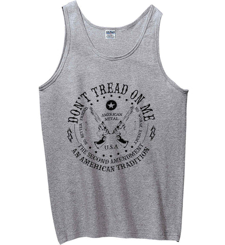 Don't Tread on Me: The Second Amendment: An American Tradition. Black Print. Gildan 100% Cotton Tank Top.