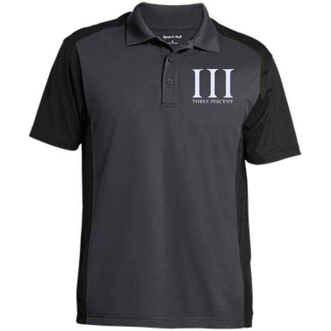 Three Percent Symbol with Text. White. Sport-Tek Men's Colorblock Sport-Wick Polo. (Embroidered)